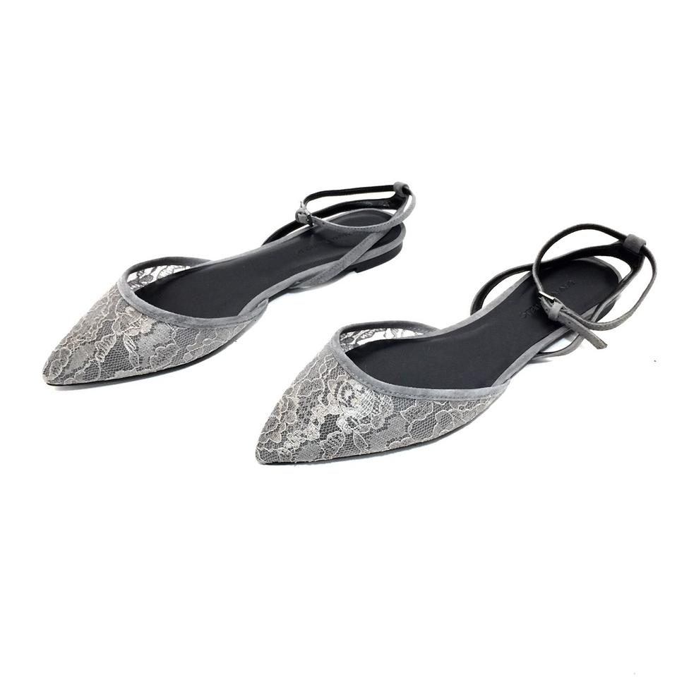 9605c398556 Banana Republic Gray Lace   Suede Pointed W  Ankle Straps Flats Size ...