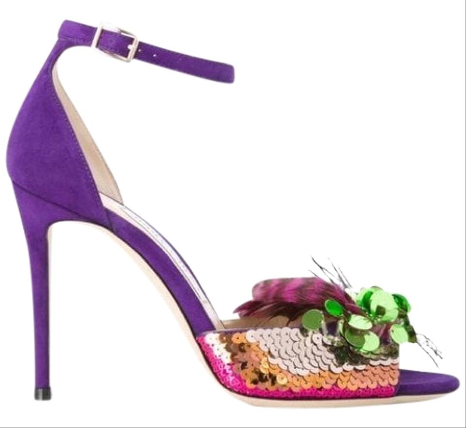 7d5b79026a2 Jimmy Choo Purple Annie Sequin & Feather Embellished Sandals Size EU ...