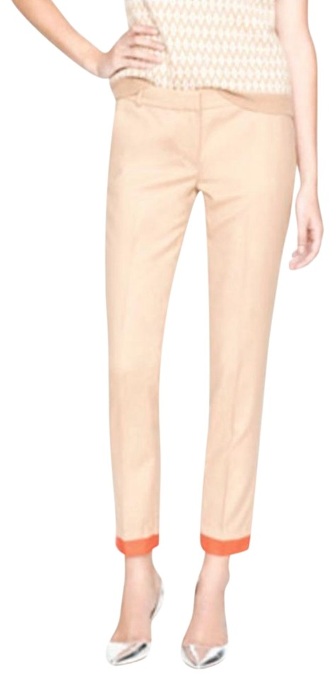 4b65da593dff J.Crew Beige Orange Cuff Color-block Wool Cafe Trouser Capris Size ...
