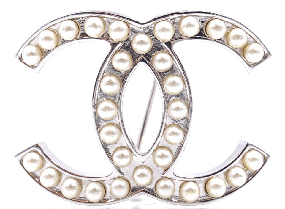 c18af0e06c8b5d Chanel  26276 Silver Pearls Rare Timeless Cc Hardware Brooch Pin Charm
