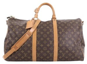 Louis Vuitton Keepall Canvas Satchel in brown