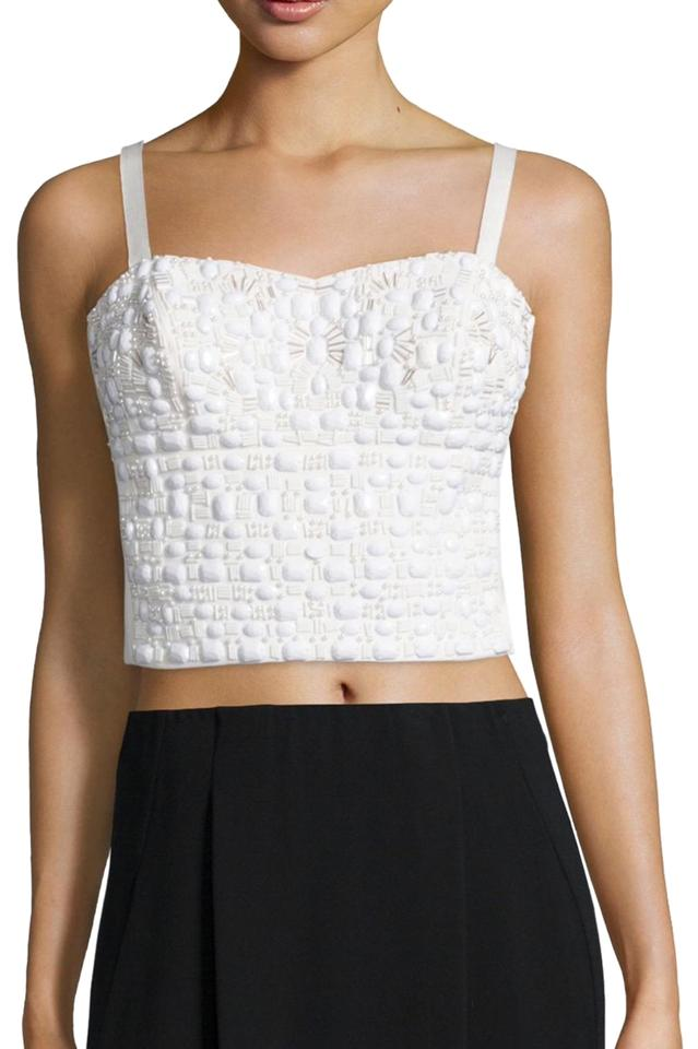 e8995116c7 Phoebe Couture Embellished Cropped Tank White Top - Tradesy