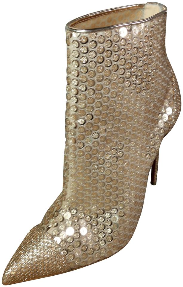 d6aeb0505ab Christian Louboutin Gold Gipsygbootie Spc 100 Sequins Glitter Mesh Ankle New  Boots Booties