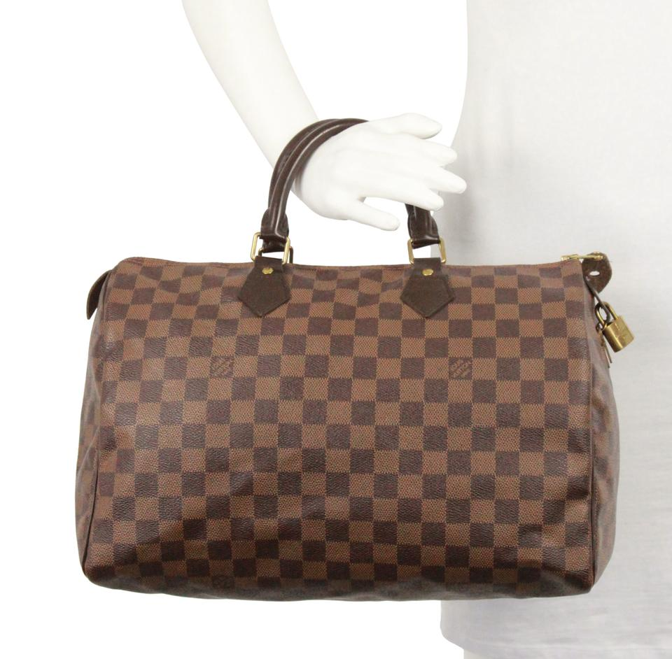0b0ff4c6d0fa Louis Vuitton Speedy 35 Damier Ebene Brown Coated Canvas Satchel ...