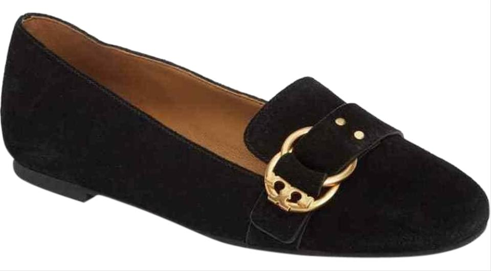 c7e34604a Tory Burch Black Marsden Suede Gold Tone Belted Reva Smoking Slipper Flats