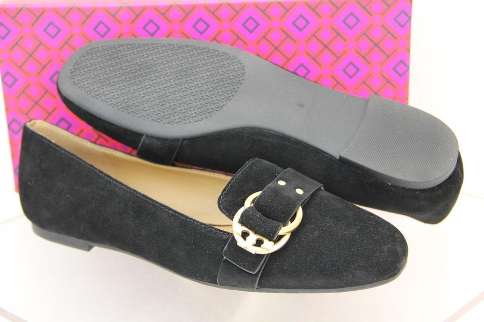 c93c84082 Tory Burch Black Marsden Suede Gold Tone Belted Reva Smoking Slipper Flats  Size US 8.5 Regular (M