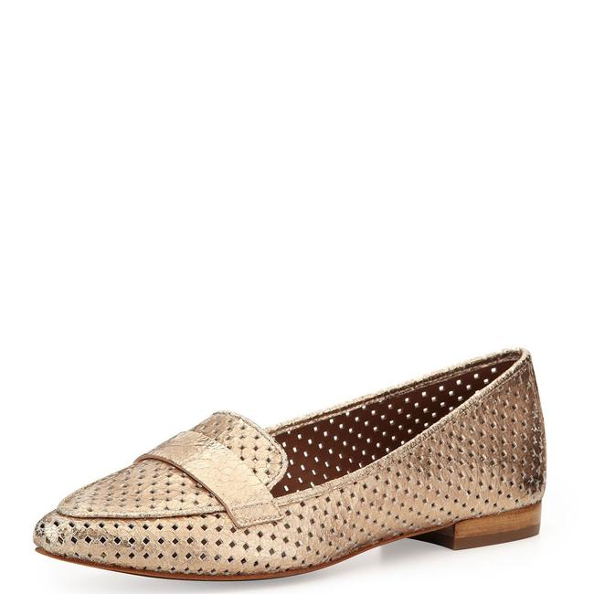 Item - Gold Metallic Perforated Leather Loafers Flats Size US 10 Regular (M, B)