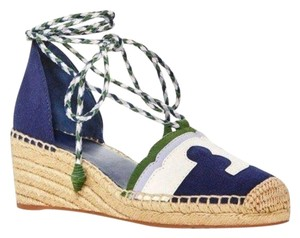 Tory Burch Laces Heart Leather Patent Blue Wedges