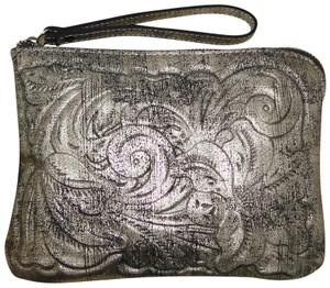 Patricia Nash Designs Tooled Floral Pouch Wristlet in Gold Metallic
