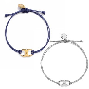 Tory Burch New Tory Burch Embrace Ambition Silk Gemini Bracelet Navy & Silver