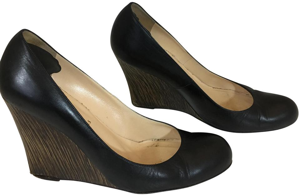 dcde31269cb Christian Louboutin Black 36119 Leather Wooden Heel Wedge Pumps Size ...