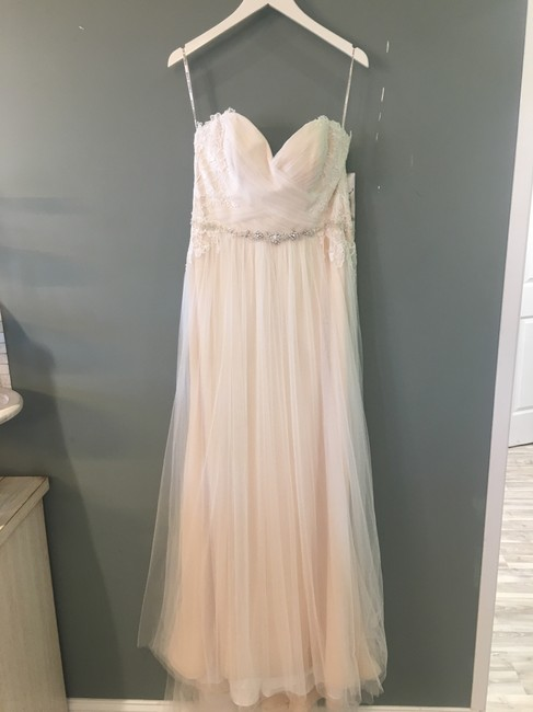 Item - Diamond White Over Nude Lace-tulle Patience Formal Wedding Dress Size 8 (M)