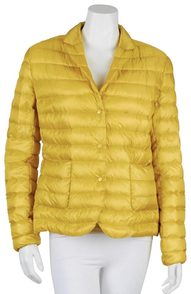 d86db660fe36 Moncler Yellow Quilted Nylon Down Packable 4 Xl Jacket Size 16 (XL ...