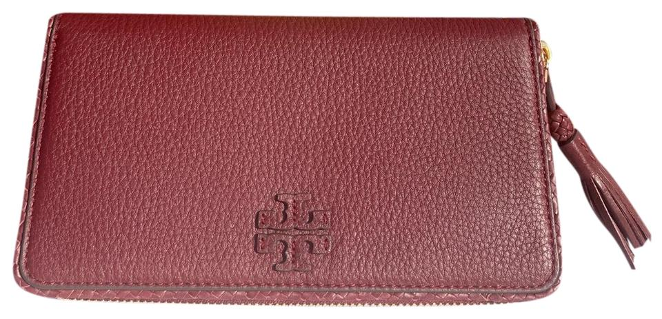 0cbe056cfc6 Tory Burch Imperial Garnet Taylor Continental Zip Around Leather Wallet