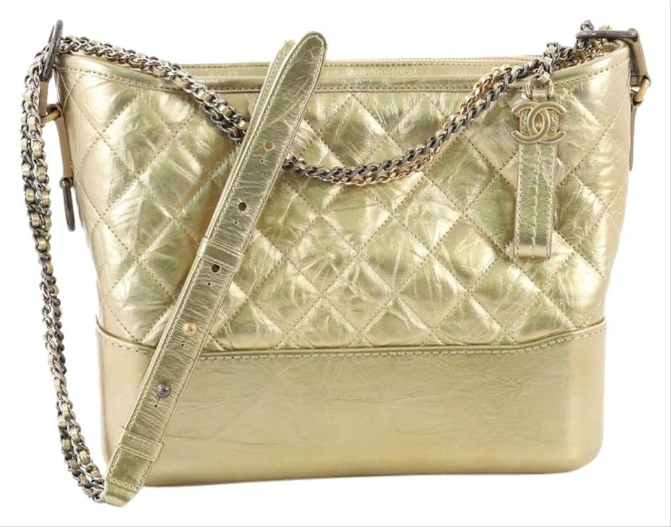 122da37374 Chanel Gabrielle Hobo Quilted Aged Calfskin Medium Gold Leather Hobo ...