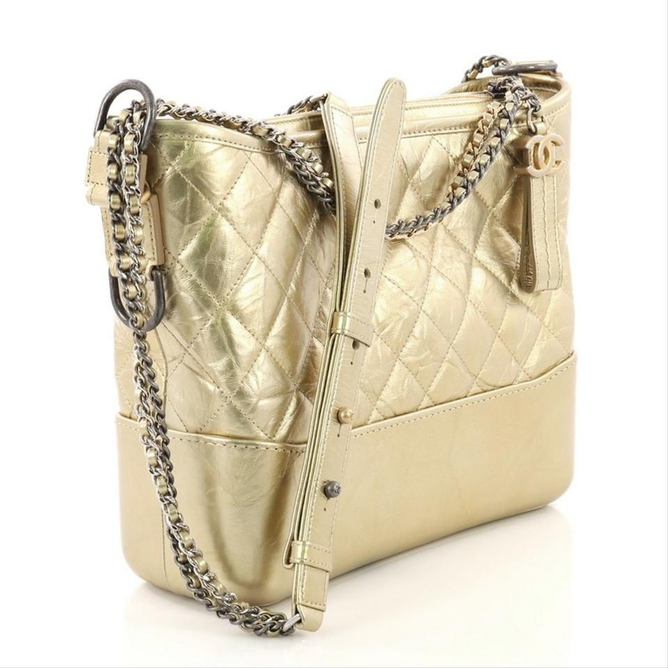 3fd13d63cddd Chanel Gabrielle Hobo Quilted Aged Calfskin Medium Gold Leather Hobo Bag -  Tradesy