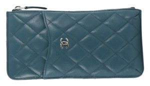 Chanel Pouch Leather teal Clutch
