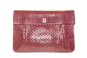 Fendi Mint Vintage Envelope Early Sas Chic European Style brown woven leather with a leather strap handle in the back Clutch