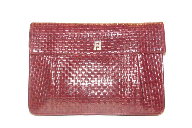 Item - Vintage Purses Brown Woven Leather with A Leather Strap Handle In The Back Clutch