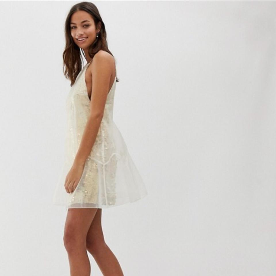 Free People Gold Sequin Ghost Mini Ob713129 Short Night Out Dress Size 12  (L) - Tradesy 8a0c84a6a