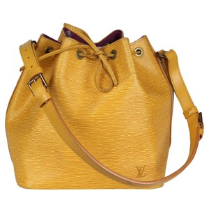 Louis Vuitton Noe Epi Shoulder Bags Leather Tote in Yellow