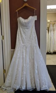 Maggie Sottero Ivory/Light Gold Lace Aretha Feminine Wedding Dress Size 14 (L)