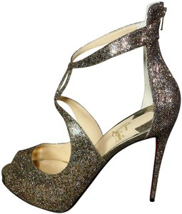 Christian Louboutin Silver Gold & Rose Gold Platforms