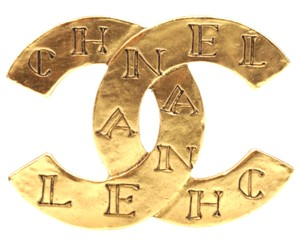 Chanel CC logo spelled out engraved gold Hardware Brooch Pin