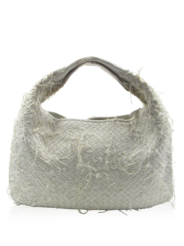 f7d406afb6 Bottega Veneta Woven Fringe Shoulder Handbag White Leather Hobo Bag ...