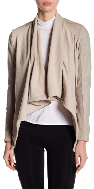 Item - Taupe Denim Private Practice Faux Leather Moto Jacket Size 8 (M)