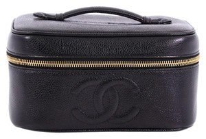 Chanel Cosmeticcase Leather Satchel in black