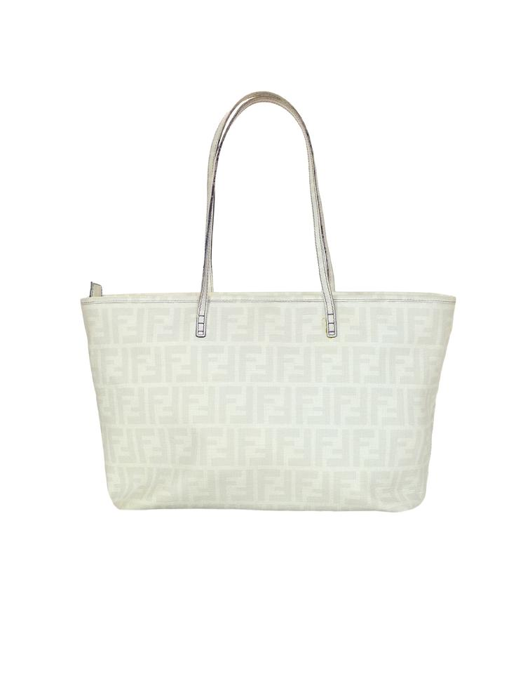847a24a87d Fendi Ff Monogram Zucca Zip Top Grey White Coated Canvas Tote - Tradesy