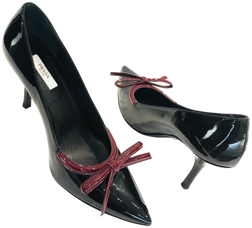 874bf55f79a Prada Black Patent Leather Pointed-toe Pumps Size EU 39 (Approx. US ...