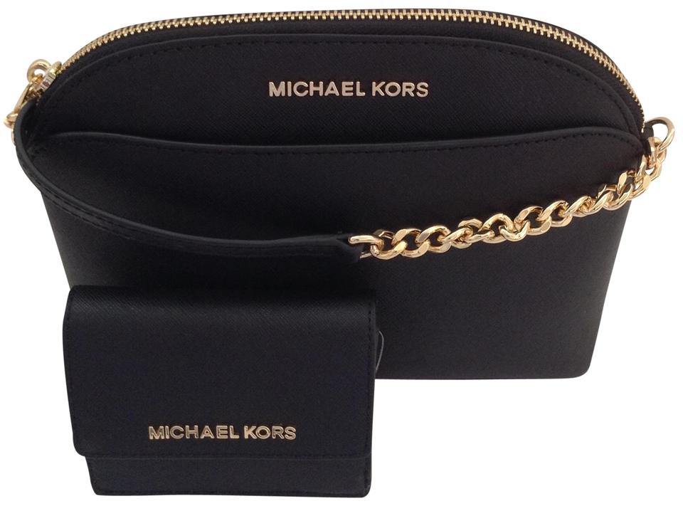 904de0058aff Michael Kors New Emmy Dome and Card Id Key Holder Black Leather Cross Body  Bag 45% off retail