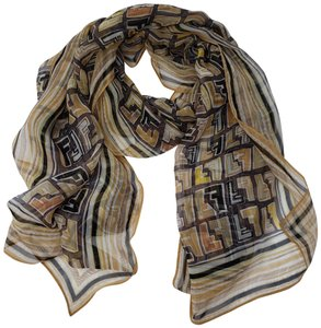 Fendi Brown silk Fendi Zucca monogram print scarf