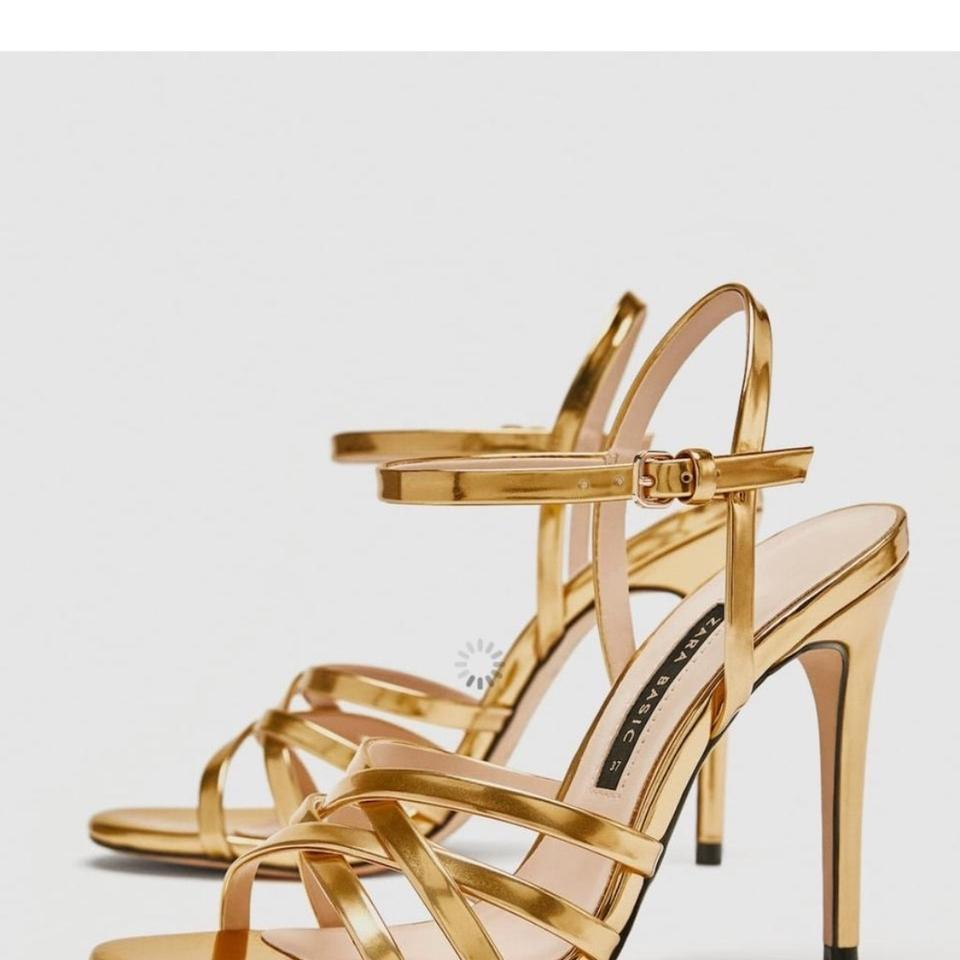 d3bd9fdf49a6 Zara Gold Laminated Strappy Sandals Size US 8 Regular (M