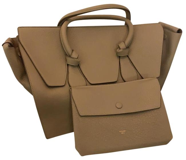 Item - Tie Knot Tote Taupe Leather Satchel