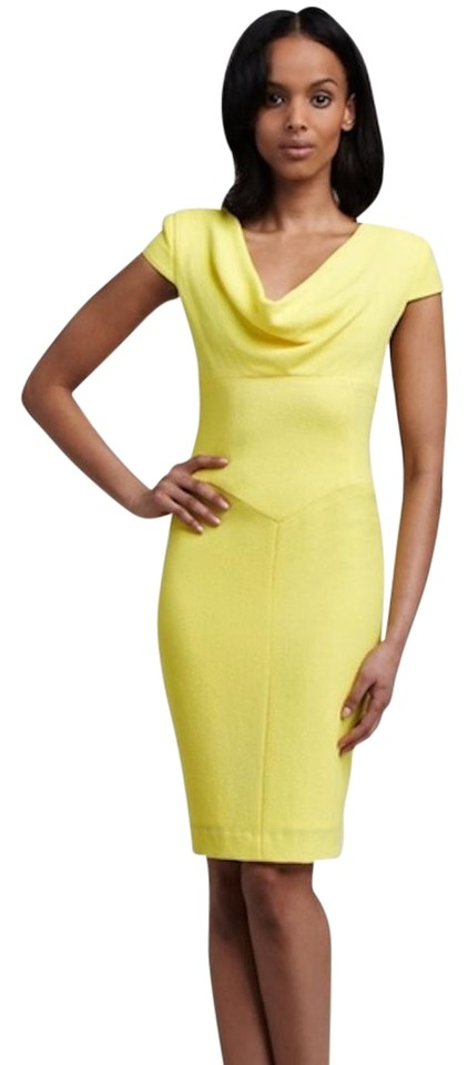 a9f3d18dadf3 Black Halo Yellow Gretchen Textured Sheath Mid-length Cocktail Dress ...