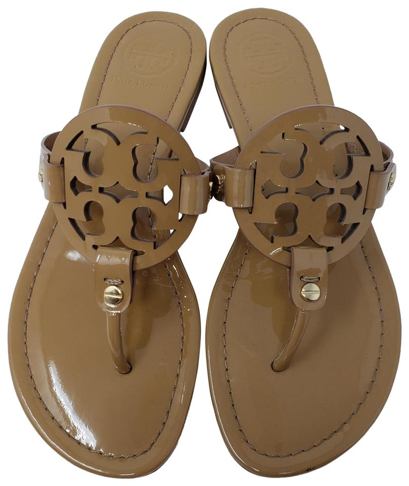 34b3b8dec497 Tory Burch Brown Patent Leather Miller Thong Slide Sandals Size US ...