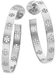 Tory Burch Silver T Pierced Logo Hoop Earrings Bracelet