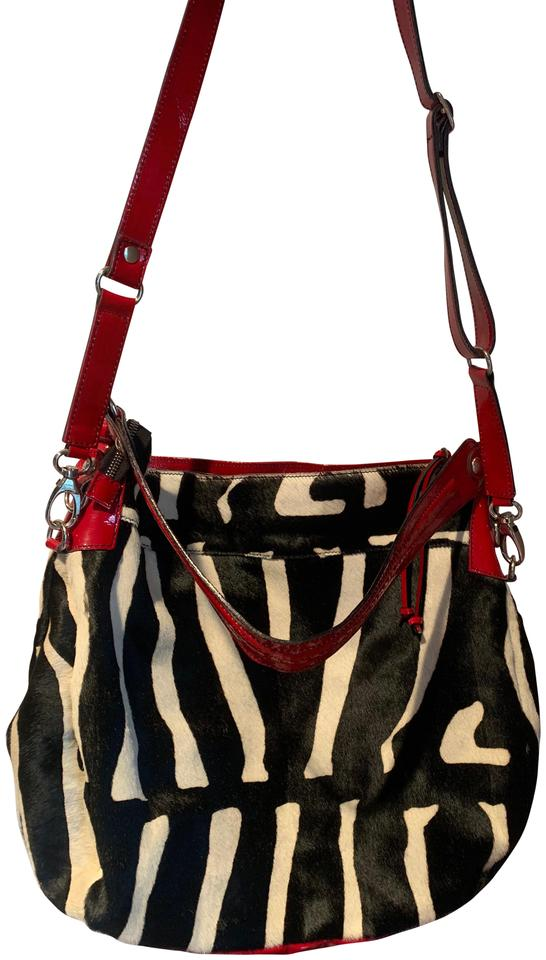 Cavalcanti Zebra Print Calf Hair Black White Red Leather Shoulder ... eefb843627707