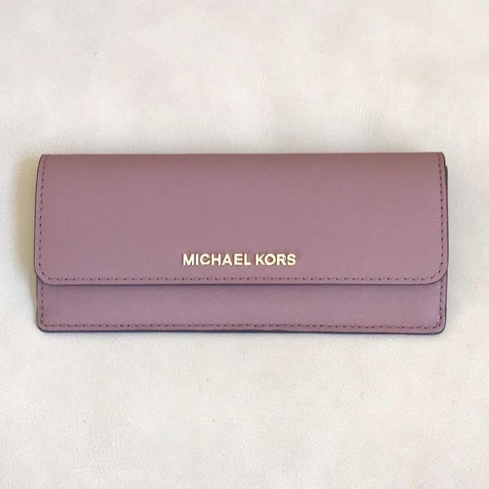 0e854d4c2c4e Michael Kors Dusty Rose Multicolor Flat Jet Set Travel Wallet - Tradesy