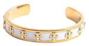 Tory Burch Gold Raised Logo Cuff Ivory Enamel And Bracelet