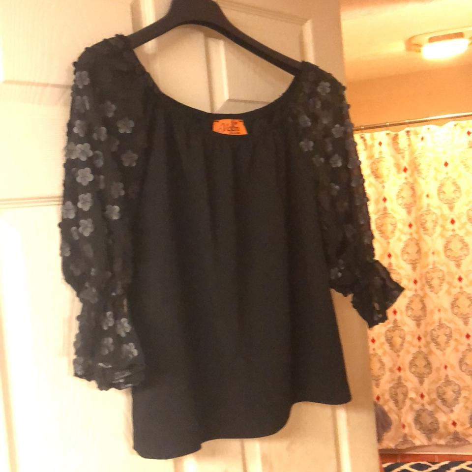 ac16ea874a74 Voom by Joy Han Black With Floral Accents On The Sleeve. Blouse Size ...
