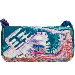 Chanel Watercolor Graffiti Rare Limited Edition Satchel in Turquoise