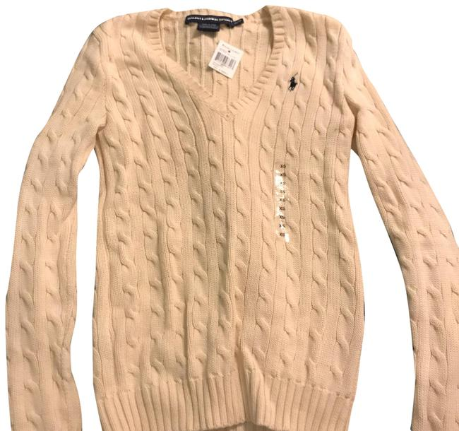 Item - Cable Knit V-neck Cream Sweater