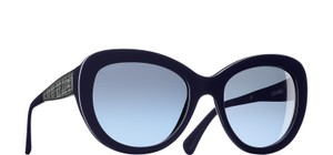 Chanel 5346 CC Butterfly Signature Oversized Classic Cateye Tweed Navy Blue