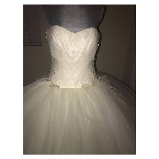 Vera Wang Bridal Ivory Silk Strapless Tulle Lace Embroidered Ballgown Formal Wedding Dress Size 12 (L)