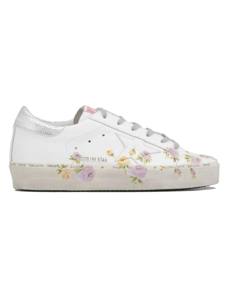 56d348c32cc7 Golden Goose Deluxe Brand White Leather-flowers Hi Star Sneaker Sneakers