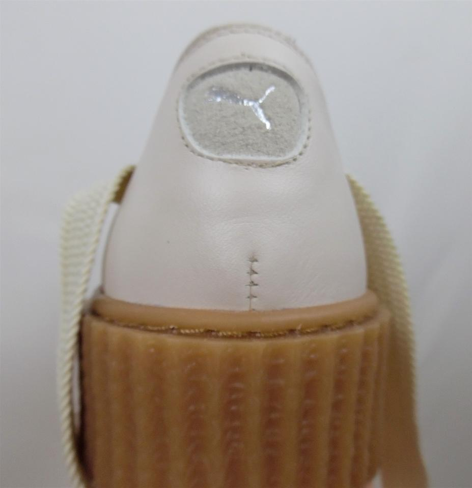 1aa364df FENTY PUMA by Rihanna Blush Pink Cream Leather Ballet Lace-up Bow ...